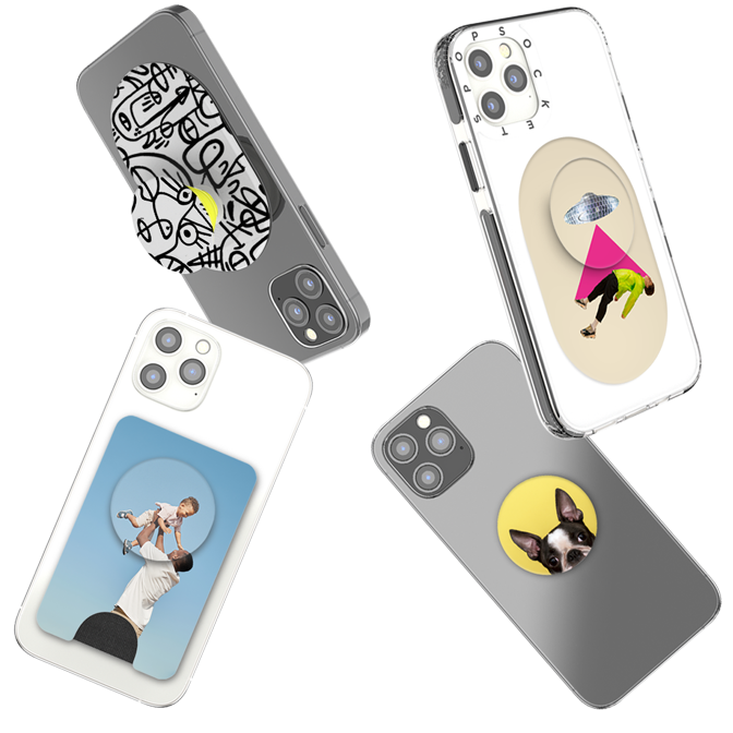 Four customized PopSockets products with people, dogs, and art designs.