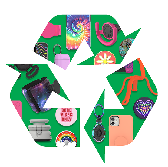 Recycle graphic in green with different PopSockets products inside.