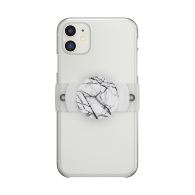 PopGrip Slide Stretch Dove White Marble with Rounded Edges
