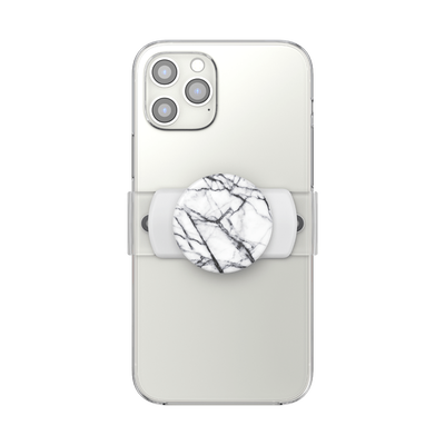 PopGrip Slide Stretch Dove White Marble on White with Square Edges